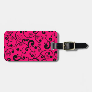 Hot Pink and Black Scroll Pattern Luggage Tag