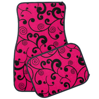 Hot Pink and Black Scroll Pattern Floor Mat