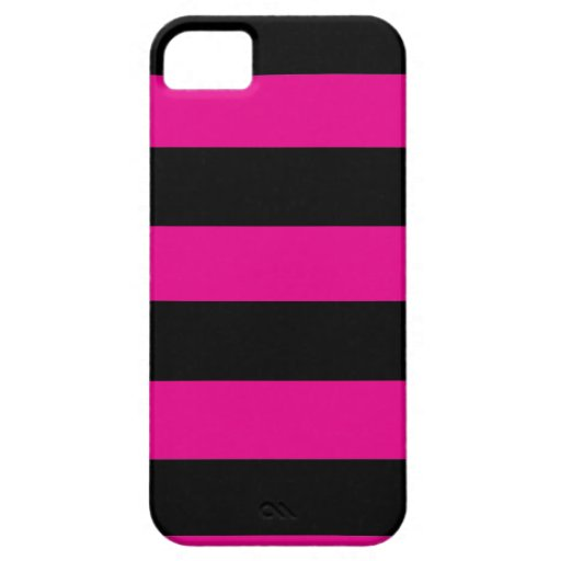 Hot Pink and Black Stripes iPhone 5/5S Cases