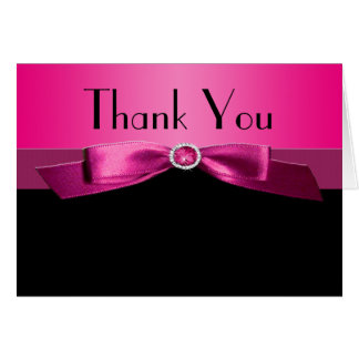 Hot Pink and Black Thank You Note Card