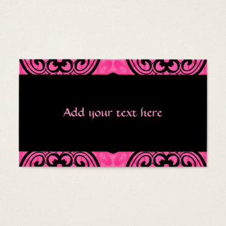 Hot pink and black victorian kaleidoscope decor business card