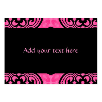 Hot pink and black victorian kaleidoscope decor large business card