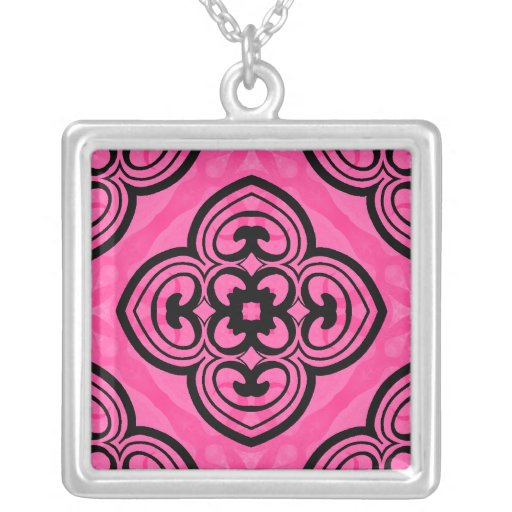 Hot pink and black victorian kaleidoscope decor personalized necklace