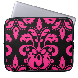 Hot pink and black vintage victorian damask laptop sleeve