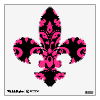 Hot pink and black vintage victorian damask wall decal