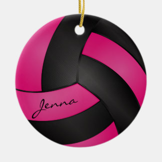 Hot Pink and Black Volleyball | DIY Name Ceramic Ornament