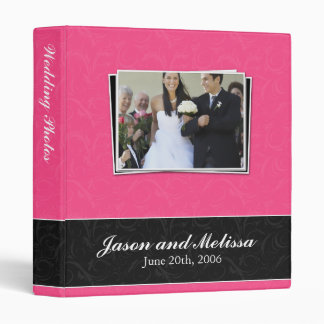 Hot Pink and Black Wedding Vinyl Binder
