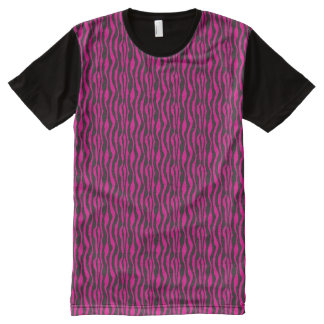 Hot Pink and Black Zebra Pattern All-Over-Print T-Shirt