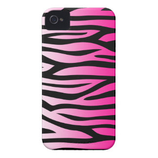 Hot Pink and Black Zebra Pattern iPhone 4 Covers