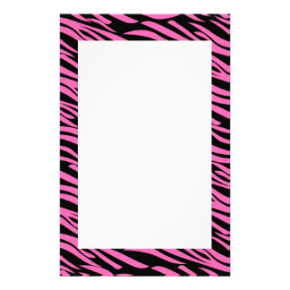Hot Pink and Black Zebra Print Stationery