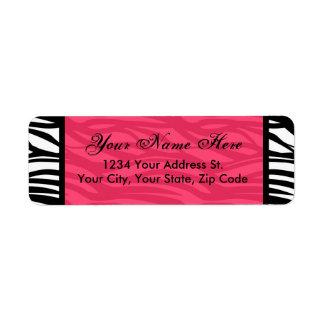 Hot Pink and Black Zebra Return Address Labels