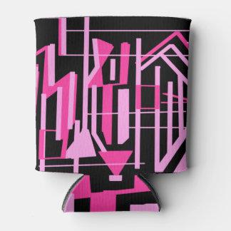 Hot Pink and black Zebra stripes Can Cooler