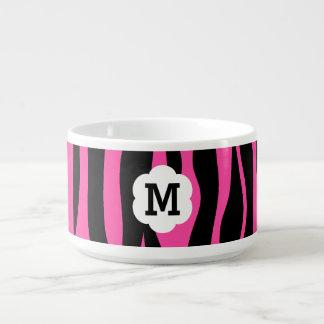 Hot pink and black zebra stripes monogram bowl