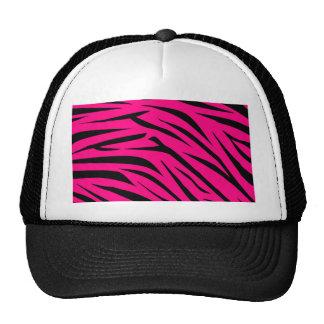 Hot Pink and Black Zebra Stripes Trucker Hat