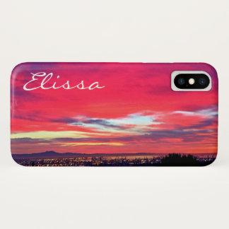 Hot pink and blue clouds sunrise photo custom name Case-Mate iPhone case