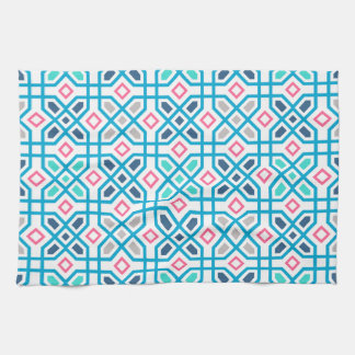 Hot pink and blue geometric pattern kitchen towels