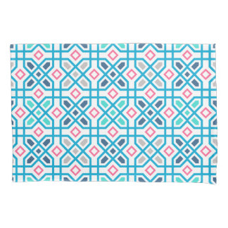 Hot pink and blue geometric pattern pillowcase