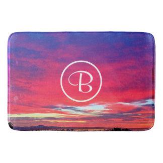Hot pink and blue sunrise photo custom monogram bath mat