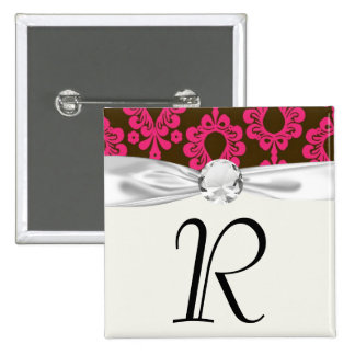 hot pink and brown damask design 2 inch square button