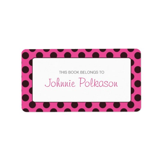 Hot Pink and Brown Polka Dot Bookplate Label