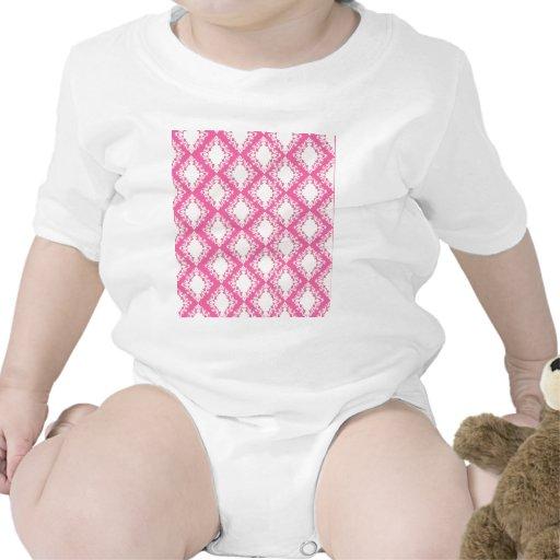 Hot Pink and Cream Damask Pattern T-shirts