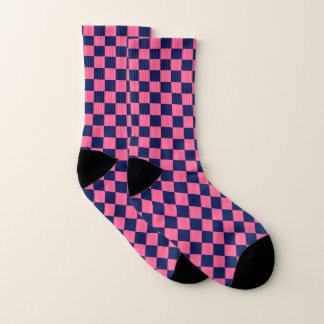 Hot Pink and Dark Blue Checkerboard Socks