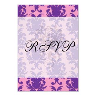 "hot pink and deep purple pretty damask pattern 3.5"" x 5"" invitation card"