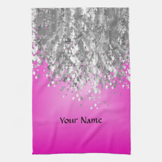 Hot pink and faux glitter kitchen towel