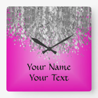 Hot pink and faux glitter square wall clock
