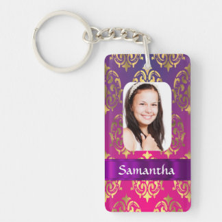 Hot pink and gold damask Double-Sided rectangular acrylic keychain