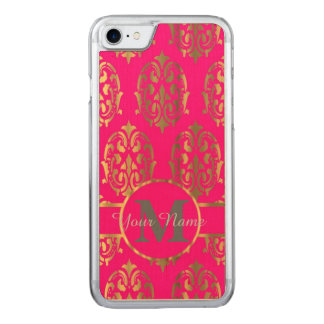 Hot pink and gold damask monogram carved iPhone 8/7 case