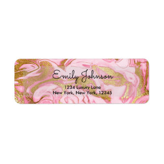 Hot Pink and Gold Foil Elegant Marble Birthday