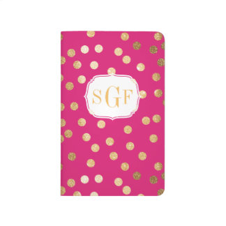 Hot Pink and Gold Glitter Dots Monogram Journal