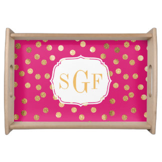 Hot Pink and Gold Glitter Dots Monogram Tray Serving Trays