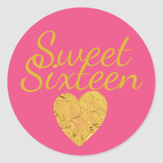 Hot Pink and Gold Heart Sweet 16 Envelope Seal