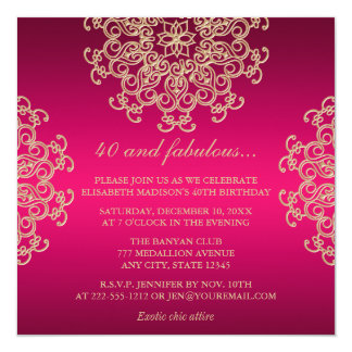 "HOT PINK AND GOLD INDIAN INSPIRED BIRTHDAY 5.25"" SQUARE INVITATION CARD"