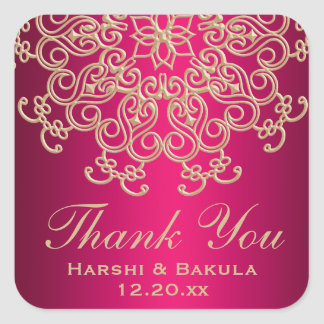HOT PINK AND GOLD INDIAN INSPIRED THANK YOU LABEL