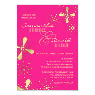 """Hot Pink and Gold Indian Inspired Wedding 5"""" X 7"""" Invitation Card"""