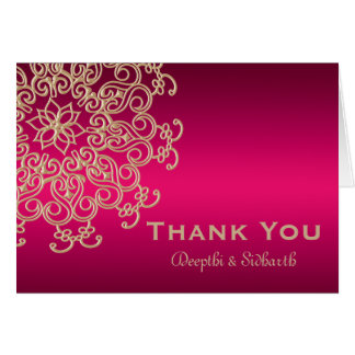 HOT PINK AND GOLD INDIAN STYLE WEDDING THANK YOU CARD