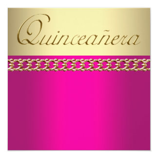 """Hot Pink and Gold Quinceanera 5.25"""" Square Invitation Card"""
