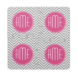 Hot Pink and Gray Chevrons Custom Monogram Drink Coaster Puzzle