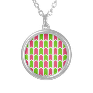 Hot Pink and Green Fence Panel Silver Plated Necklace