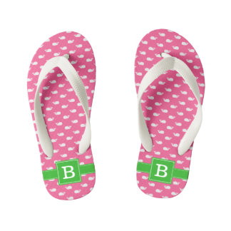 Hot Pink and Green Whales Square Monogram Kid's Flip Flops