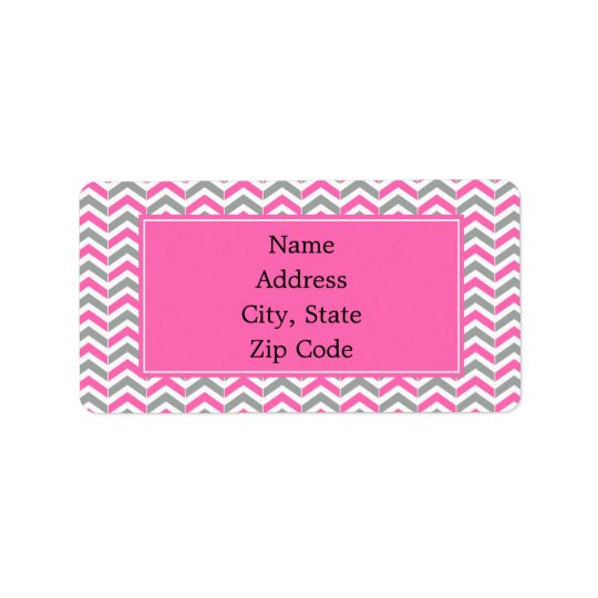 Hot Pink and Grey Chevron Pattern Label