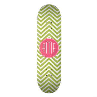 Hot Pink and Lime Chevron Pattern with Monogram Skate Deck