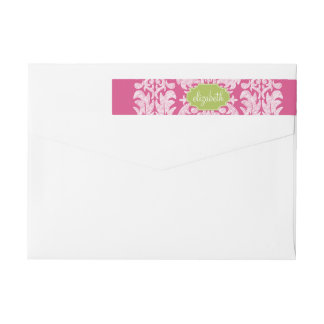 Hot Pink and Lime Girly Damask Pattern Wrap Around Label