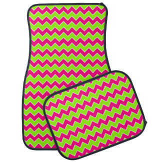 Hot Pink and Lime Green Chevron Pattern Car Mat