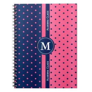 Hot Pink and Navy Blue Polka Dots Notebook