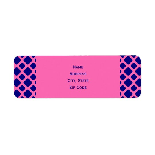 Hot Pink and Navy Blue Quatrefoil Pattern