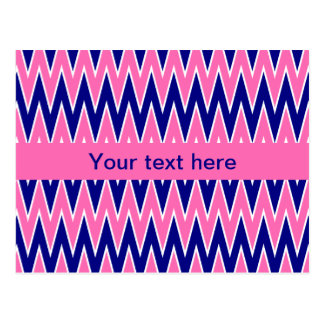Hot Pink and Navy Blue Zigzag Pattern Postcard
